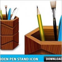 Link toFree wooden pen stand icon psd