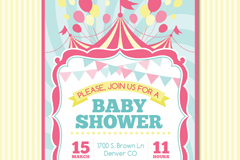 Link toFresh baby party invitation poster vector