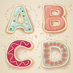 Fresh cookie letters vector