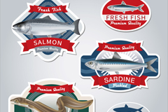 Fresh fish products tag vector