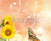 Link toFresh flowers and music background design psd