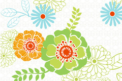 Link toFresh flowers and patterned background vector