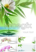 Fresh flowers in bamboo leaves vector