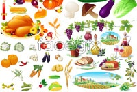 Link toFresh fruits and vegetables, vector
