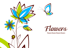 Link toFresh painting butterfly flowers vector