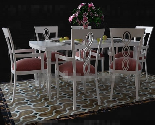 Link toFresh pink and white dinette combination 3d model