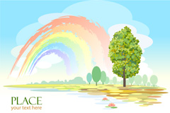 Link toFresh rainbow landscape vector
