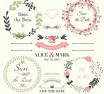 Fresh wedding elements vector