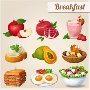 Link toFruit and breakfast design vector icons free