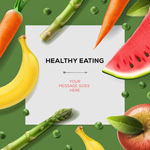 Link toFruit and vegetable decorations text background vector