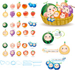 Fruit doll icons vector