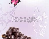 Fruit grape butterfly psd