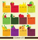 Fruit stickers calendars vector