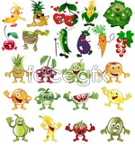 Link toFruits and vegetables, cartoon vector