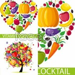 Fruits and vegetables monogram vector