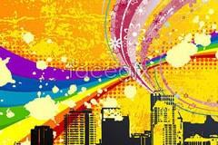 Fun city building trend vector illustration