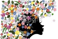 Link toFun flowers of female silhouettes vector
