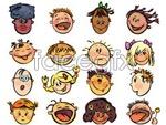 Link toFunny cartoon faces vector