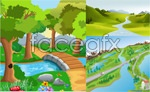 Link toFunny cartoon landscape vector