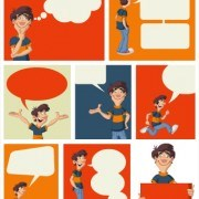 Link toFunny cartoon people and text cloud vector