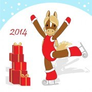 Link toFunny horses 2014 new year design vector 04