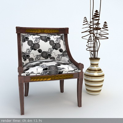 Link toFurniture model: victorian black and white fabric chair 3d model