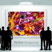 Link toGallery background and people silhouettes vector set 03