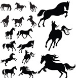 Link toGalloping horse silhouette vector