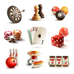 Link toGambling sports and entertainment icons vector