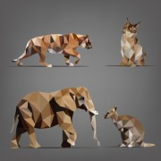 Link toGeometric shapes wild animals vector graphics 02 free