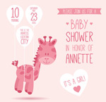 Link toGiraffe baby party vector