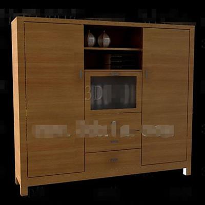 Link toGlass and wooden doors combinations cabinet 3d model