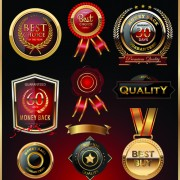Link toGlass textured quality labels with badge vector 01 free
