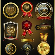 Link toGlass textured quality labels with badge vector 02 free
