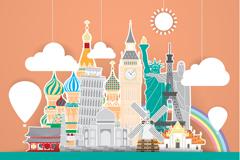 Link toGlobal landmark paper-cut style vector