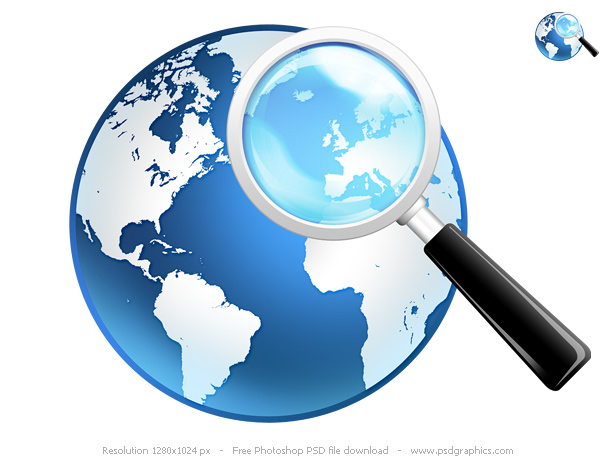 Link toGlobal search icon, psd globe and magnifier
