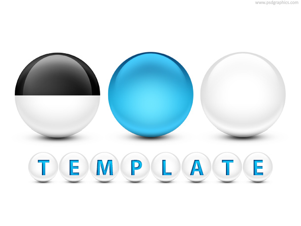 Link toGlossy spheres with text psd template