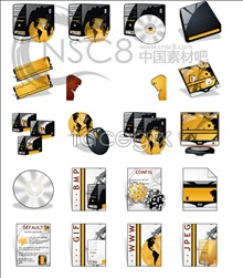 Gold business icons