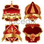 Link toGold christmas label vector
