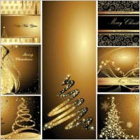 Link toGold christmas postcards vector