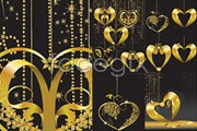 Gold heart-shaped pendant of many super vector