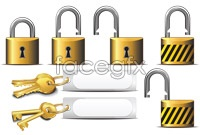 Link toGold lock icon vector