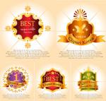 Gold medallion border decoration vector