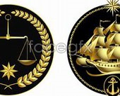 Link toGold nautical coat of arms-vector illustration