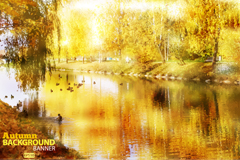 Link toGolden autumn lake landscape vector
