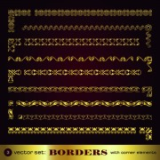 Link toGolden borders with corners elements vector graphic 01 free