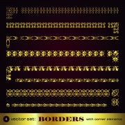 Link toGolden borders with corners elements vector graphic 02 free