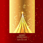 Link toGolden christmas tree greeting cards vector