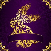 Link toGolden easter pattern and purple background vector 05 free