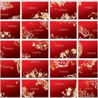 Link toGolden floral business cards vector set